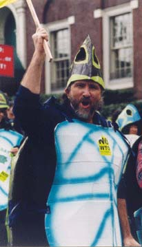 Ben White, head turtle, WTO March in Seattle, 1999.